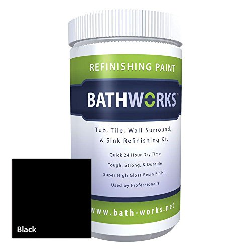 Bathworks DIY Bathtub & Tile Refinishing Kit w/Non-Slip Protection (BLACK); 22 oz; Tub; Tile; Wall Surround; Sink; Quick 24 hour dry time; High Gloss Resin Finish
