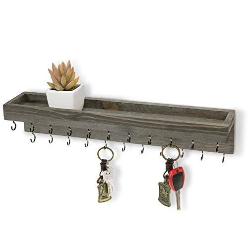 MyGift Vintage Gray Wood Wall Mounted Jewelry Holder Shelf with Black Metal Necklace/Bracelet Hooks