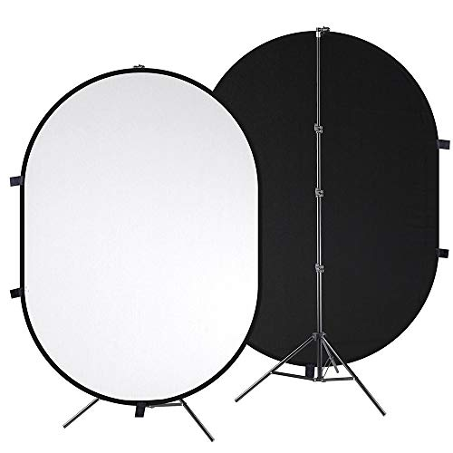 AW 7.3 x 4.8Ft 2 in 1 Chromakey Black White Collapsible Backdrop with Tripod Stand Kit Live Stream Reversible Background