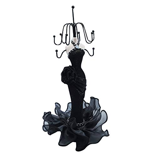 Doll Jewelry Stand Holder Mannequin Necklace Display Orgaziner Black Evening Gown Jewelry Stand 10 inches