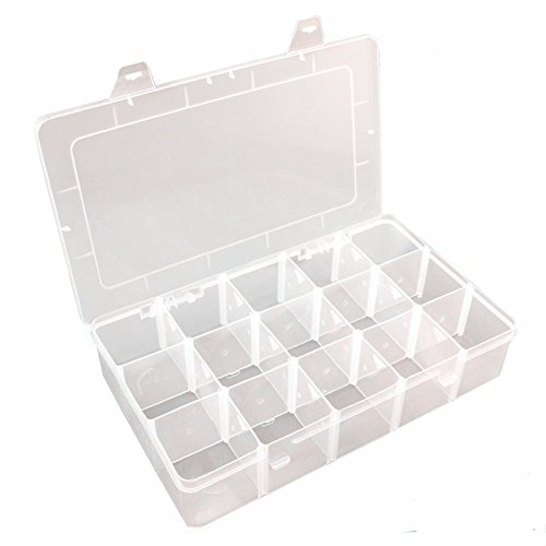 Nizzco Clear Plastic Jewelry Box Organizer Storage Container With Adjustable Dividers 15(Large) Grids