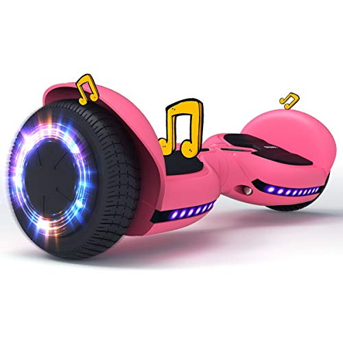 TOMOLOO Hoverboard Pink for Girls and Boys, Hoverboard Bluetooth and Led Lights with Speaker, Hoverboards for Kids and Adults