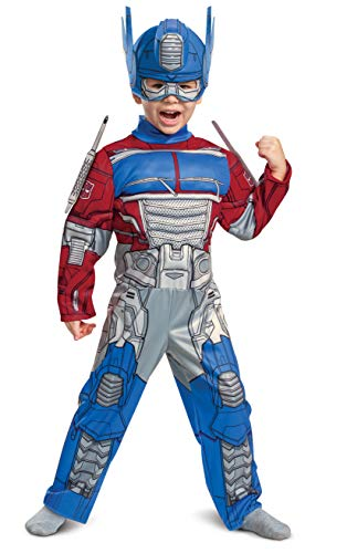 Optimus Prime Costume, Toddlers Muscle Transformer Costumes for Boys, Padded Character Jumpsuit, Toddler Size Medium (3T-4T)