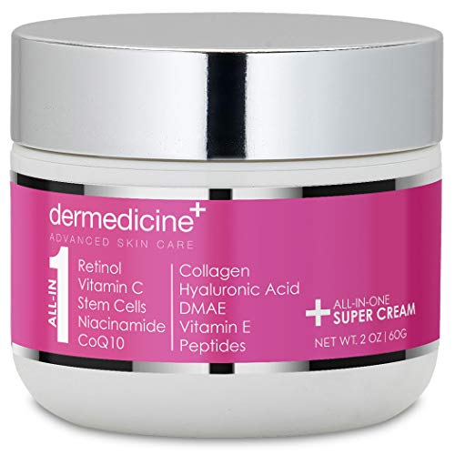 All In One Super Anti-Aging Cream for Face with Retinol, Vitamin C, Stem Cells, Vitamin E, CoQ10, Collagen, Hyaluronic Acid, DMAE, Peptides, Niacinamide for More Youthful Looking Skin 2 oz / 60 g