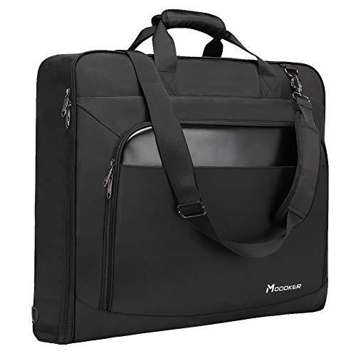 Modoker Suit Luggage Garment Bag with Shoulder Strap, Suit Carry on Bag Hanging Suitcase Black Garment Bags for Men Women Business Travel