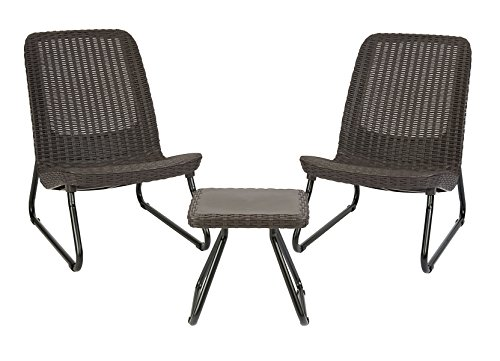 Keter Rio 3 Piece Resin Wicker Patio Furniture Set with Side Table and Outdoor Chairs, Whiskey Brown