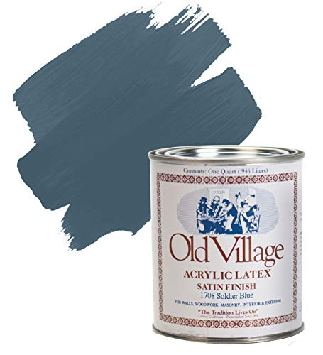 Old Village Satin Soldier Blue Water-Based Paint Exterior and Interior 1 qt.