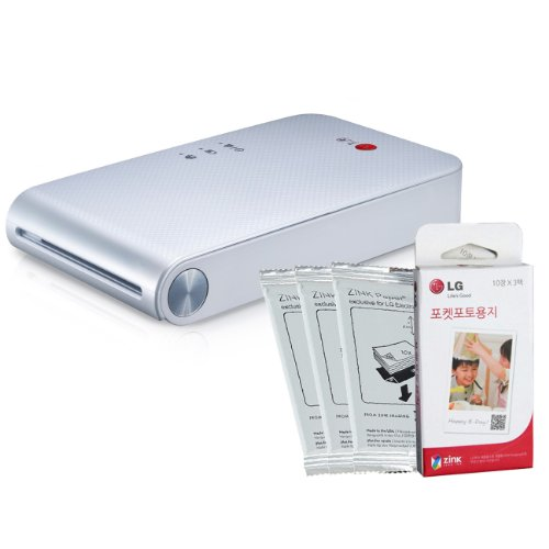 LG Popo Pocket Photo Printer PD239 (White) Bundle with 30-Pack of Inkless Photo Paper for Android, iOS