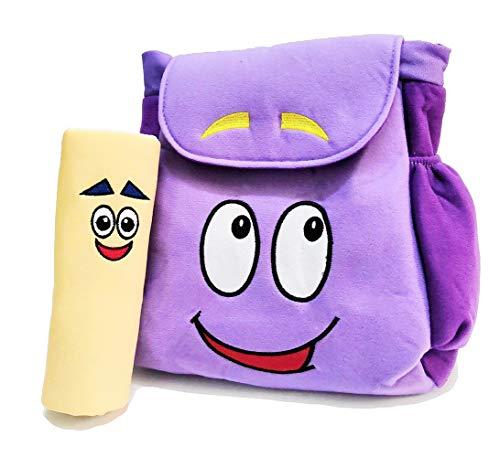 12 inch Dora Explorer Backpack Rescue Bag with Map,Pre-Kindergarten Toys Purple Plush Backpack (Dora Plush Backpack)