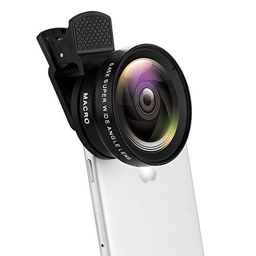 QEBIDUM Universal Clip Professional 37MM 49mmUV HD Camera Lens Kit 0.45X Super Wide Angle 12.5X Super Macro Mobile Phone Lense For iPhone 6 Plus 5S 4S Samsung S6 S5 Note 4 Xiaomi and Redmi 4
