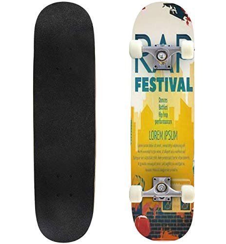 Colored Hip hop Poster or Flyer with Headline Rap Festival in Modern Skateboard 31'x8' Double-Warped Skateboards Outdoor Street Sports Skateboard for Beginners Professionals Cool Adult Teen Gifts