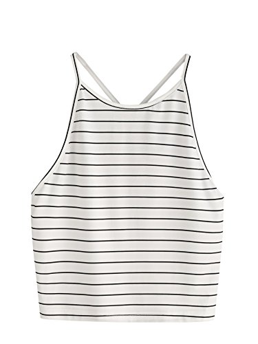 SweatyRocks Women's Sleeveless Striped Halter Cami Tank Tops Backless Crop Tops (Small, White)