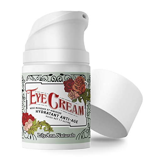 LilyAna Naturals Eye Cream - Eye Cream for Dark Circles and Puffiness, Under Eye Cream, Anti Aging Eye Cream Reduce Fine Lines and Wrinkles, Rosehip and Hibiscus Botanicals - 1.7oz