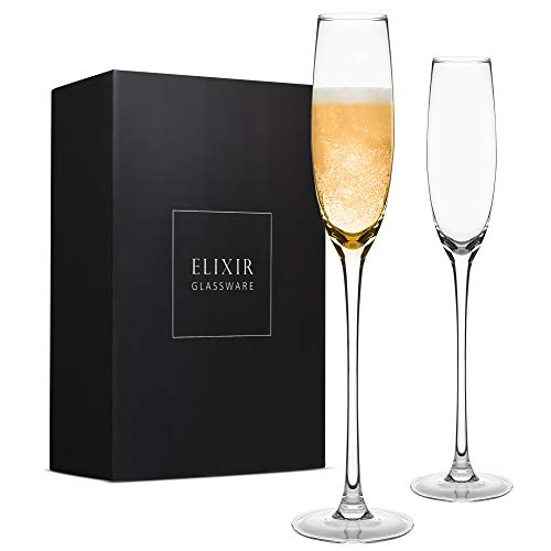 Crystal Champagne Flutes – Elegant Champagne Glasses, Hand Blown – Set of 2 Modern Champagne Flutes, 100% Lead Free Premium Crystal – Gift for Wedding, Anniversary, Christmas – 5oz, Clear