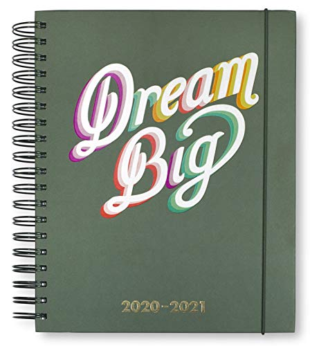 Kate Spade New York Mega 2020-2021 Planner Weekly & Monthly, 17 Month Hardcover Personal Planner Dated Aug 2020 - Dec 2021 with Stickers, Pocket, Tab Dividers, Notes/Holiday Pages, Dream Big (Green)