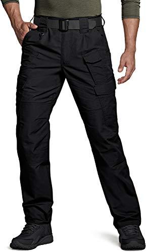 CQR Men's Tactical Pants, Water Repellent Ripstop Cargo Pants, Lightweight EDC Hiking Work Pants, Outdoor Apparel, Duratex Mag Pocket Black, 34W x 34L