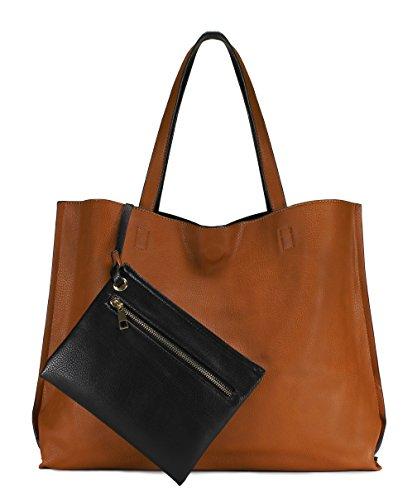 Scarleton Stylish Reversible Tote Handbag for Women, Vegan Leather Shoulder Bag, Hobo bag, Satchel Purse, Camel/Black, H18422501