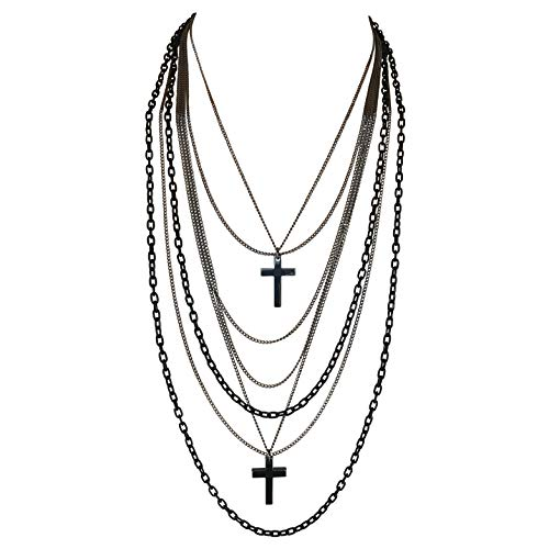 Multilayer Black and Gunmetal Chains and Crosses 80's Gothic Retro Long Fashion Necklace