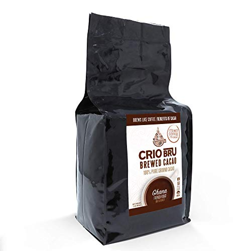 Crio Bru Ghana French Roast 80oz (5 lb) Bag | Natural Healthy Brewed Cacao Drink | Great Substitute to Herbal Tea and Coffee | 99% Caffeine Free Gluten Free Whole-30 Low Calorie Honest Energy