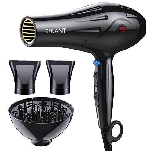 CHLANT 2000W Professional Salon Hair Dryer, Temperature Display Powerful Ionic Blow Dryer, 2 Speed 3 Heat Settings Quiet Hairdryer with Diffuser & 2 Concentrator Nozzles Attachments