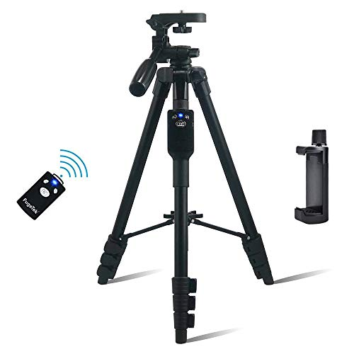 Fugetek 54' Tripod, Works with Phone & Camera, Use for Facetime, Video Calls, Teaching, Lightweight Aluminum, Removable Bluetooth Remote, Mount Smartphone, DSLR, Compatible with Apple Android, Black