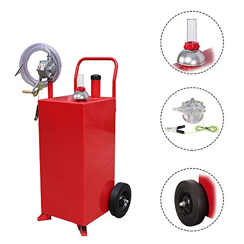 MOTOOS 30-Gallon Portable Oil Transfer Gasoline Tanks Gas Caddy Storage with Pump and Wheels Red