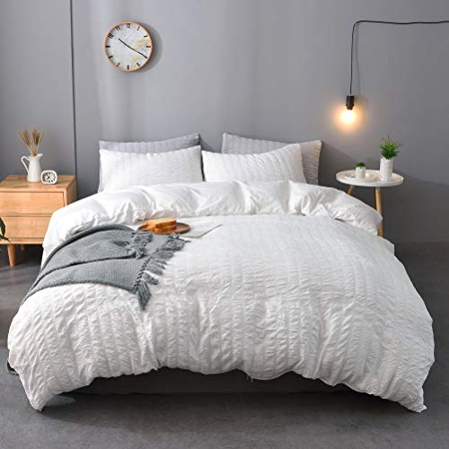 M&Meagle 3 Pieces Textured Duvet Cover White Set with Zipper Closure,100% Washed Microfiber Seersucker Fabric,Luxury Hotel Quality Bedding-King Size(1 Duvet Cover 2 Pillowcases)