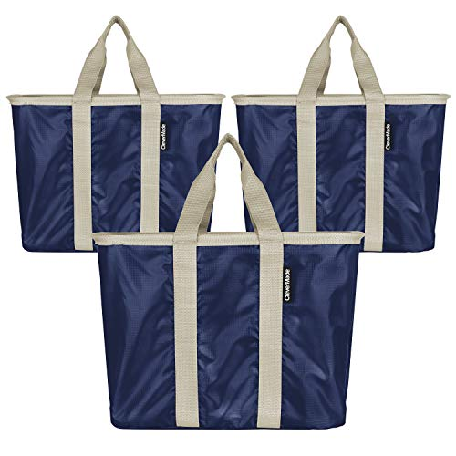 CleverMade SnapBasket Reusable Grocery Shopping Bags with Reinforced Bottom and Zippered Storage Pocket, Collapsible Durable Premium Utility Totes, 20L Size, Navy/Cream, 3 Pack