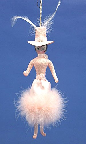 De Carlini Lady in Pink Retro Dress with Hat and Feathers Italian Mounthblown Christmas Ornament