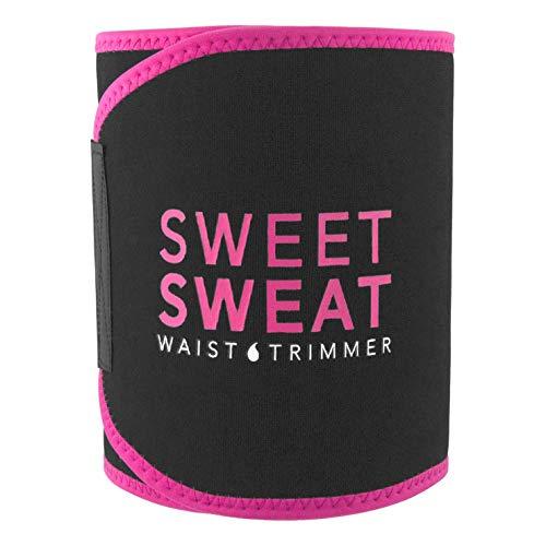 Sweet Sweat Premium Waist Trimmer (Pink Logo) for Men & Women ~ Includes Free Sample of Sweet Sweat Gel! (SM: 8' Width x 35' Length)