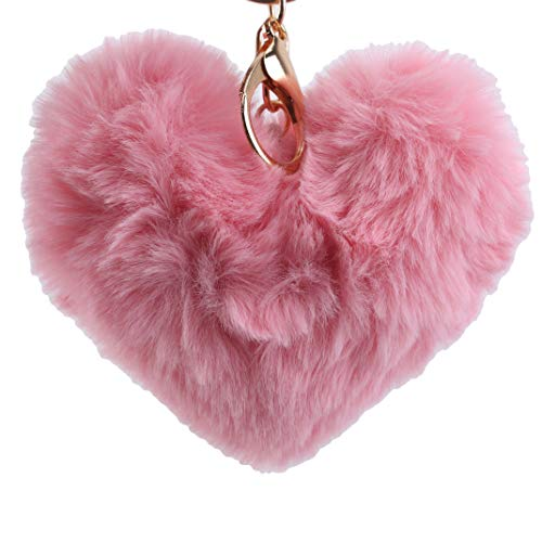 Airlove Heart-Shaped Ball Pom Keychain Artificial Fur Ball Keychain Fluffy Accessories Car Bag Charm Pink