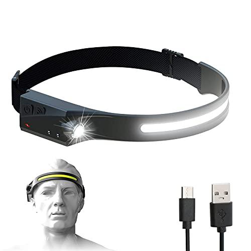 Bud K Rechargeable LED Headlamp with 230° Illumination, Waterproof, 4 Modes, Motion Sensor Headlamp, USB Headlamp for Hiking, Running, Fishing, Camping