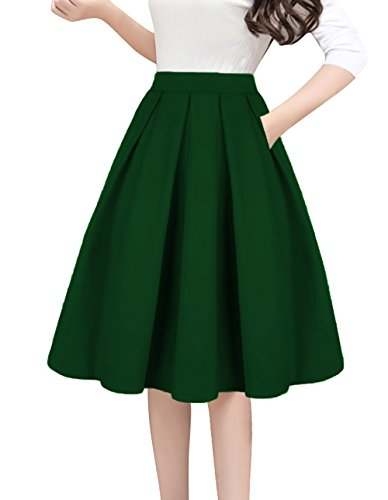 Tandisk A-Line Pleated Vintage Skirts with Pockets for Women Green S