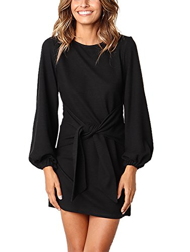PRETTYGARDEN Women's Elegant Long Sleeve Short Dress Crewneck Tie Waist Knit Cocktail Dress Black