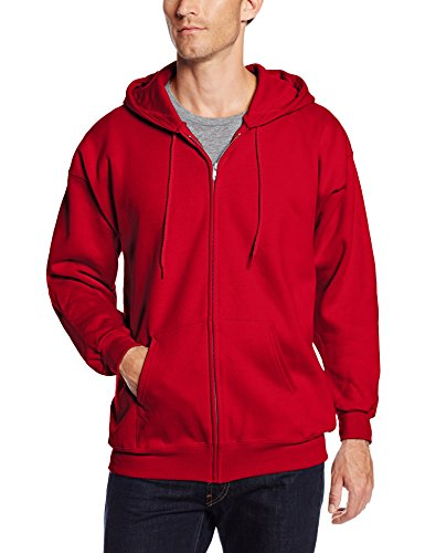 Hanes Men's Full Zip Ultimate Heavyweight Fleece Hoodie, Deep Red, X-Large
