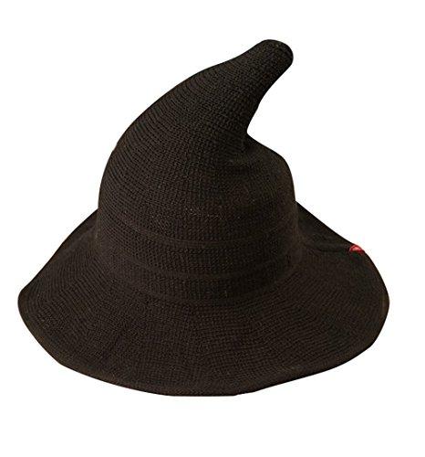 Luoke Women Summer Witch Cotton Sun Hat Foldable Costume Ball Hat Cap (Black)