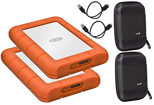 LaCie 2 Pack 1TB Rugged Mini USB 3.0 (USB 2.0 Compatible) External Hard Drives Compatible with Mac and PC - Water and Drop Resistance with Compact Pocket Cases