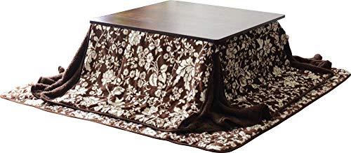 EMOOR Microfiber Space-Saving Kotatsu Futon Set (Comforter & Rug), Square-Type, Classical Floral Pattern (Brown)