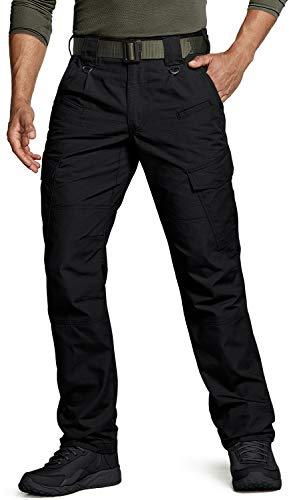 CQR DRST Men's Tactical Pants, Water Repellent Ripstop Cargo Pants, Lightweight EDC Hiking Work Pants, Outdoor Apparel, True(tlp108) - Black, 32W x 30L