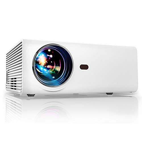 Projector, YABER Portable Projector with 5500LUX 60,000 HRS LED Lamp Life, 1080P and 200'' Supported, Full HD Mini Movie Projector Compatible with Smartphone/Fire Stick/TV/PS4 Ideal for Home Theater