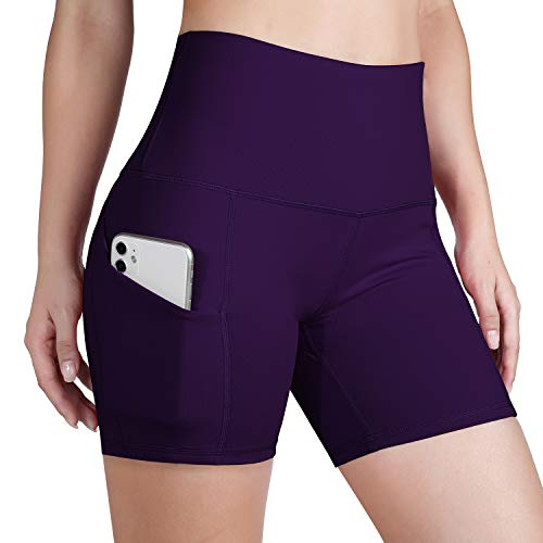 ODODOS High Waist Out Pocket Yoga Short Tummy Control Workout Running Athletic Non See-Through Yoga Shorts,DeepPurple,Small
