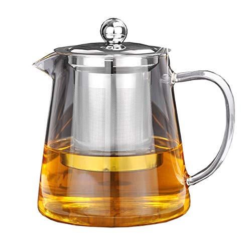 Mini Size Glass Teapot Tea Kettle - OBOR Borosilicate Stovetop Safe Small Tea Maker with Removable Infuser for Blooming and Loose Leaf - 450ML/15oz