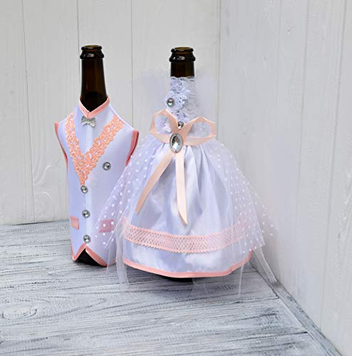Bride and Groom Wine Bottle Covers- Wine bottle dress-up for Weddings- Wedding Gifts For the Couple- Fun Wine Bottle Covers- Wedding Centerpieces Decorations- Wine décor- wine accessories (peach)