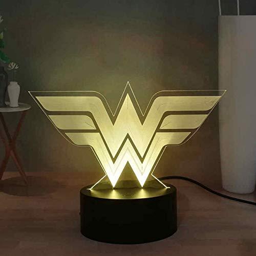 Wonder Woman Logo Symbol 3D Illusion Table Lamp, DC Comic Movie Figures Hero Colorful Desk Lamp, USB Touch LED Night Light, 7 Colors Bedroom Night Lamp, Home Decor Light, Friend's Birthday Gift