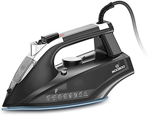 MOOSOO Steam Iron, 1800W Lightweight Portable Steam-Dry Iron for Clothes, Non-Stick Soleplate Home Steam Iron, Anti-drip Iron with Auto-Off, Steam Control System, 470mL Water Tank