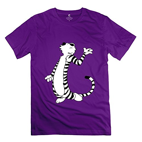 Popular Thomas Hobbes Tiger Calvin and Hobbes Baymax Men's T-Shirt Purple Size XXL