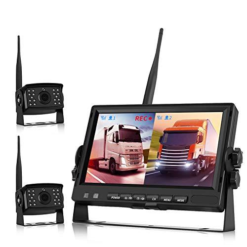 Backup Camera Wireless, Backup Camera for Trucks, Trailer Backup Camera System DVR Digital Wireless AHD Video Recording (Rear & Front View Camera) 7 inch Monitor for Bus/Motorhome 12V-24V Night Vision