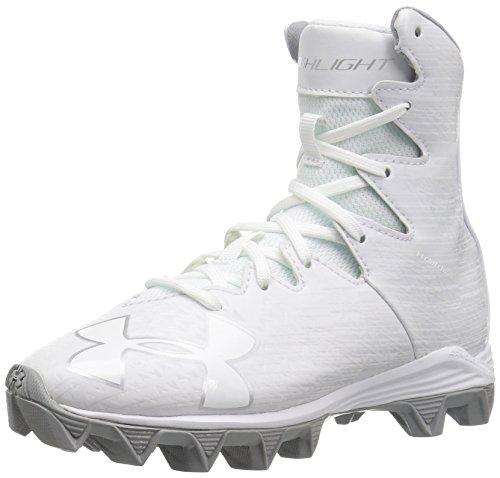 Under Armour Boys' Highlight RM Jr. Lacrosse Shoe, White (100)/Metallic Silver, 3