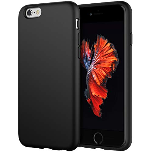 JETech Silicone Case Compatible with iPhone 6s/6 4.7 Inch, Silky-Soft Touch Full-Body Protective Case, Shockproof Cover with Microfiber Lining (Black)
