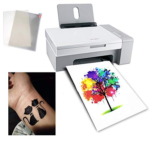 10 Sheets A4 Temporary Tattoo Transfer Paper Printable Waterproof Transfer Paper DIY Customized for Laser Printers and UV Inkjet Printers